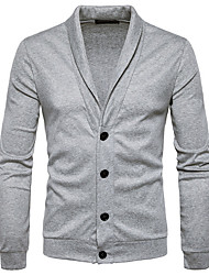 cheap -Men's Daily Solid Color Shirt Collar Cardigan, Long Sleeves Spring