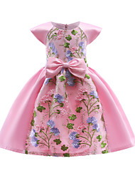 cheap -Girl's Party Going out Patchwork Dress, Cotton Polyester Spring Fall Short Sleeves Vintage Sophisticated Red Blushing Pink