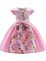 abordables -Robe Fille de Soirée Sortie Mosaïque Coton Polyester Printemps Automne Manches Courtes Rétro Sophistiqué Rouge Rose Claire
