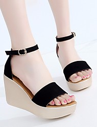 cheap -Women's Shoes Nubuck leather Spring Summer Comfort Sandals Wedge Heel for Casual Black Red Green