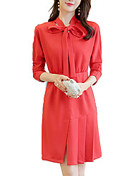 cheap -Women's Work Basic Slim A Line Dress - Solid Colored Shirt Collar
