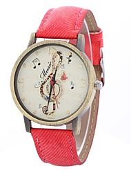 baratos -Mulheres Relógio de Pulso Chinês Mostrador Grande PU Banda Casual / Minimalista Preta / Branco / Azul