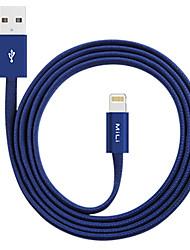 Недорогие -Подсветка Адаптер USB-кабеля Быстрая зарядка Высокая скорость Плоские Кабель Назначение iPhone 120 cm сплав цинка