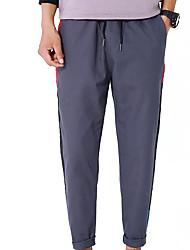 Недорогие -мужской нормальный средний рост микро-эластичные брюки из шиносома, простой цветной блок полиэстер / хлопковая смесь весна