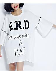 cheap -Women's Cute Cotton Loose T-shirt - Solid Colored, Ruffle
