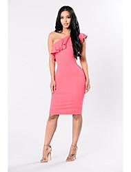 cheap -Women's Basic Sheath Dress - Solid Colored High Waist Off Shoulder