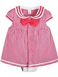 Недорогие -малыш Девочки 1 предмет Повседневные Хлопок В клетку Лето Короткие рукава Очаровательный Активный Розовый Желтый