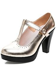baratos -Mulheres Sapatos Microfibra Primavera Outono Plataforma Básica Saltos Salto Robusto Ponta Redonda Presilha para Ao ar livre Dourado Preto