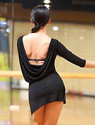 baratos -Dança Latina Vestidos Mulheres Espetáculo Algodão Modal Com Fenda Franzido Meia Manga Vestido