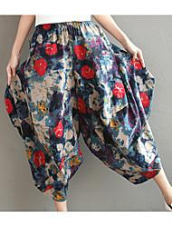 cheap -Women's Cute Wide Leg Pants - Floral