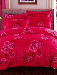 cheap -Duvet Cover Sets Floral 4 Piece Poly/Cotton 100% Cotton Jacquard Poly/Cotton 100% Cotton 1pc Duvet Cover 2pcs Shams 1pc Flat Sheet