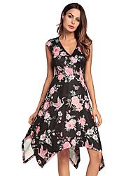 baratos -Mulheres balanço Vestido - Em Cruz, Floral Decote V Cintura Alta Assimétrico