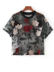 Недорогие -Жен. Плиссировка Рубашка Однотонный