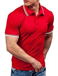 baratos -Homens Polo - Esportes Sólido / Estampa Colorida Algodão / Manga Curta