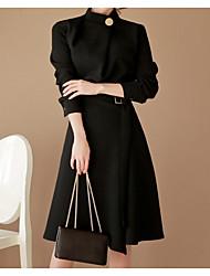 abordables -Femme Basique Coton Gaine Robe Couleur unie Col Roulé Mi-long Noir