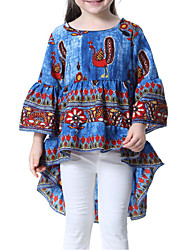 preiswerte -Mädchen Alltag Geometrisch Bluse, Polyester Frühling Sommer 3/4 Ärmel Niedlich Blau Rote