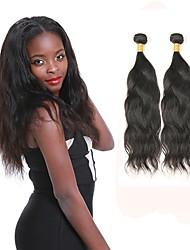 Недорогие -2 Связки Индийские волосы Естественные волны человеческие волосы Remy Человека ткет Волосы Ткет человеческих волос Расширения человеческих волос