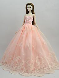 baratos -Vestidos Vestidos Para Boneca Barbie Rosa claro Cetim / Tule / Poliéster / Algodão Vestido Para Menina de Boneca de Brinquedo