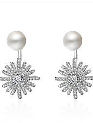 cheap -Women's Cubic Zirconia / Pearl Stud Earrings / Hoop Earrings - Pearl, Zircon, Gold Plated Daisy Korean, Sweet, Fashion Silver For Wedding / Daily
