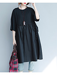 cheap -Women's Basic Tunic Dress - Solid Colored, Pleated Patchwork