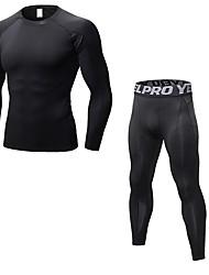baratos -Homens activewear Set - Azul, Vermelho / Branco, Cinzento Esportes Sólido Leggings / Conjuntos de Roupas Cooper Manga Longa / Pant Long Roupas Esportivas Respirabilidade Com Stretch