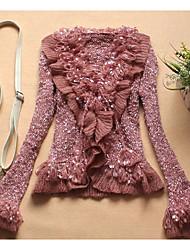preiswerte -Damen Festtage Aktiv Baumwolle Langarm Strickjacke - Solide, Rüsche V-Ausschnitt
