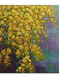 Ručno oslikana Sažetak Cvjetni / Botanički Kvadrat, Comtemporary Moderna Platno Hang oslikana uljanim bojama Početna Dekoracija Jedna