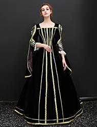 abordables -Princesse / Queen Victoria Renaissance Costume Femme Robes / Tenue / Costume de Soirée Noir Vintage Cosplay Polyester Manches 3/4 Gigot / Ballon Longueur Sol Déguisement d'Halloween