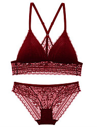 cheap -Women's 3/4 Cup Bras & Panties Sets Wireless Push-up - Solid Colored Embroidered