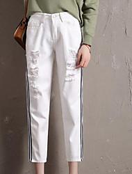cheap -Women's Plus Size Jeans Pants - Striped Basic High Waist