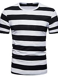 preiswerte -Herrn Gestreift - Aktiv Grundlegend Baumwolle T-shirt, Rundhalsausschnitt