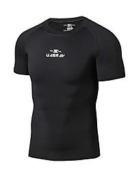 abordables -Homme Tee-shirt de Course Manches Courtes Respirabilité Tee-shirt pour Exercice & Fitness Polyester Blanc / Noir / Gris L / XL / XXL