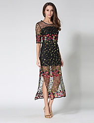 economico -Per donna sofisticato Moda città Fodero Vestito - Con lustrini Retato Con ricami, Monocolore Maxi