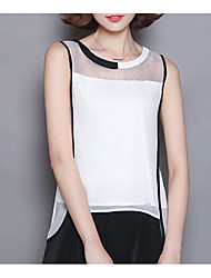 baratos -Mulheres Blusa Básico Estilo vintage Estilo Clássico,Estampa Colorida