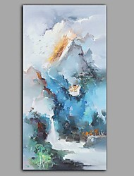 cheap -Hand-Painted Landscape Floral/Botanical Vertical Panoramic, Comtemporary Modern Canvas Oil Painting Home Decoration One Panel