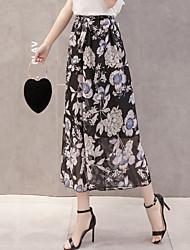 cheap -Women's Boho Loose Wide Leg Pants - Solid Floral, Bow Print High Rise