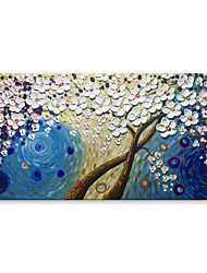 cheap -STYLEDECOR Modern Palette Knife Hand Painted Abstract White Flowers in Blue Space Canvas Oil Painting Wall