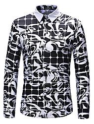 Недорогие -Муж. Большие размеры - Рубашка Цветочный принт / Геометрический принт / С короткими рукавами