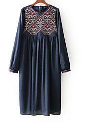 baratos -Mulheres Básico Túnicas Vestido - Bordado, Floral Altura dos Joelhos
