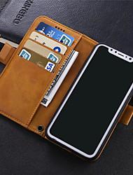 baratos -Capinha Para Apple iPhone X / iPhone 8 Plus Carteira / Porta-Cartão / Antichoque Capa Proteção Completa Sólido Rígida PU Leather para iPhone X / iPhone 8 Plus / iPhone 8