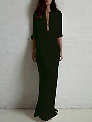Недорогие -Жен. Хлопок Рубашка Платье - Однотонный, Классический Воротник-стойка Макси