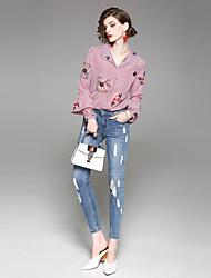 economico -Camicia Per donna Fantasia floreale Colletto Sleeve Lantern