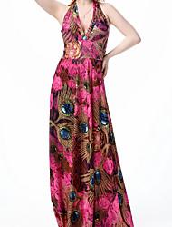 cheap -Women's Loose Dress - Floral, Print High Waist Maxi Halter