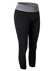 baratos -Mulheres Calça Corsário de Corrida - Verde, Azul, Cinzento Esportes Sólido 3/4 calças justas / Leggings Exercício e Atividade Física Roupas Esportivas Respirabilidade Com Stretch