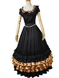 cheap -Rococo / Victorian Costume Women's Outfits Golden+Black Vintage Cosplay Elastic Satin Short Sleeve Puff / Balloon Sleeve Halloween Costumes