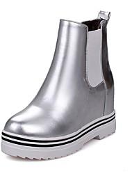 baratos -Mulheres Sapatos Courino Inverno Botas da Moda Botas Creepers Ponta Redonda Botas Curtas / Ankle para Prata Vermelho Rosa claro