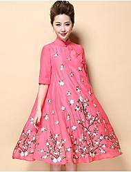 abordables -Femme Chinoiserie Gaine Robe - Brodée, Fleur Mao