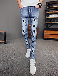 Недорогие -мужские штаны среднего роста, микро-эластичные брюки для джинсов, прочная сплошная хлопковая бамбуковая пружина