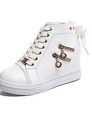abordables -Femme Chaussures Gomme Printemps Confort Basket Talon Plat Bout rond pour De plein air Blanc Noir