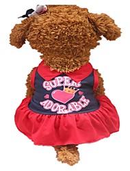 abordables -Chiens Robe Vêtements pour Chien Slogan Bleu de minuit Jaune Coton Costume Pour les animaux domestiques Mode